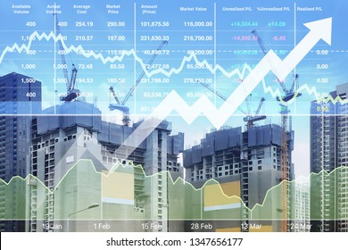 Stock financial index of successful investment on property real estate business and construction industry with graph and chart on city background.