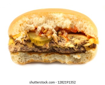 Stock Foto Big burger with meat and vegetables on a white background