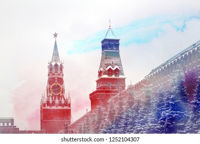 Stock Foto Moscow Kremlin tower with star in winter