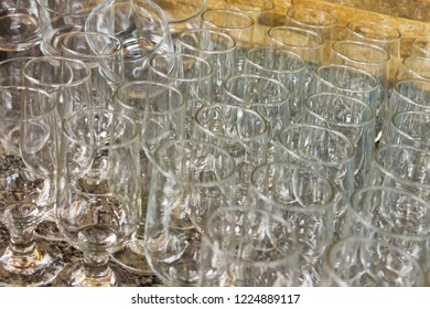 Stock of glass cups in restaurant