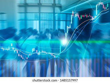 Stock graph chart with ema indicator and volume bar had breaked out trend line in bullish market on LED Monitor, abstract blurred people on background, stock trend line break out concept