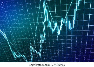 Stock graph chart at exchange market screen. (MORE SIMILAR IN MY GALLERY)