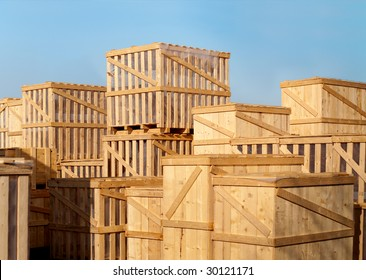 stock of heavy goods in wooden cases
