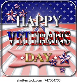 Stock Illustration - Happy Veterans Day, 3D Illustration, Honoring all who served, American holiday template.