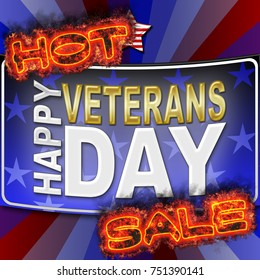Stock Illustration - Happy Veterans Day, Hot Sale, 3D Illustration, Honoring all who served, American holiday template.