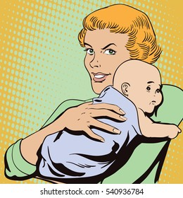 Stock illustration. People in retro style pop art and vintage advertising. Woman with a baby.