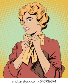 Stock illustration. People in retro style pop art and vintage advertising. Young girl ties a scarf on the neck.