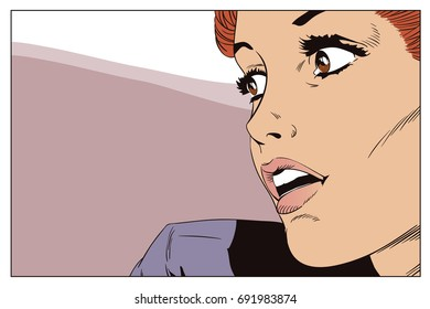 Stock illustration. People in retro style pop art and vintage advertising. Girl looks back.