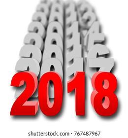Stock Illustration - Red 2018, Narrow Focus, 3D Illustration, White Background.