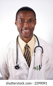 A stock image of an African American doctor.