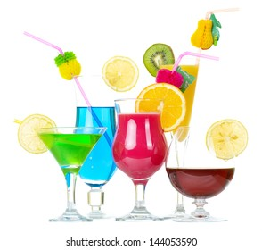 Stock image of alcohol cocktails over white background