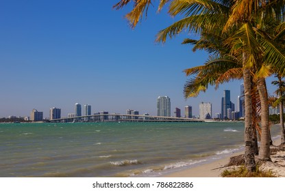 Stock image of Brickell Miami FL and Key Biscayne Beach