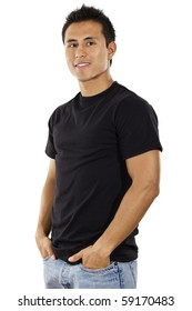 Stock image of casual Hispanic male standing with arms in pockets, isolated in white