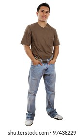 Stock image of casual man isolated on white background, full frame.