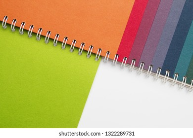 Stock image of colorful swatch book with green colour selected
