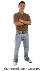 Stock image of confident casual man isolated on white background