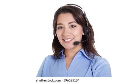 Stock image of a female call center operator isolated on white background with copy space
