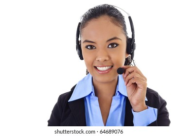 Stock image of female call center operator over white background.