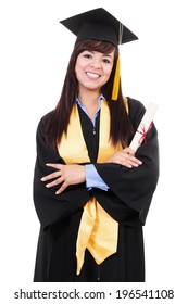 Stock image of female college graduate isolated on white background
