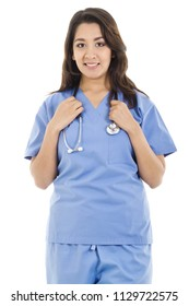 Stock image of female healthcare worker isolated on white background