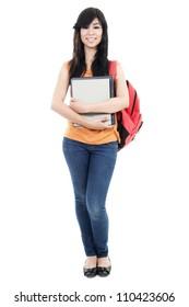 Stock image of female student isolated on white background