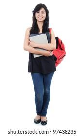 Stock image of female student isolated on white background, full frame.
