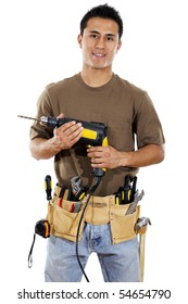 Stock image of handyman over white background