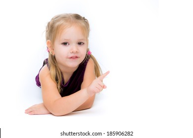 Stock image of happy girl shows right corner, isolated on white background