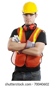 Stock image of male construction worker isolated on white background