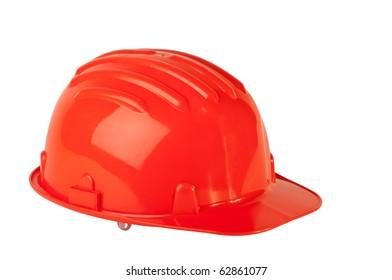 Stock image of orange hard hat isolated on white.
