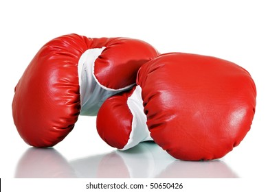 Stock image of red boxing gloves over white background