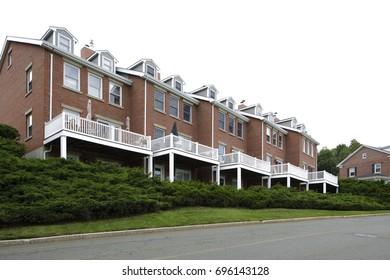 Stock image of residential townhomes in Boston MA