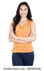Stock image of smiling and confident casual woman isolated on white background