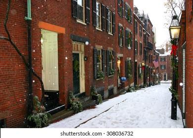 Stock image of a snowing winter at Boston, Massachusetts, USA
