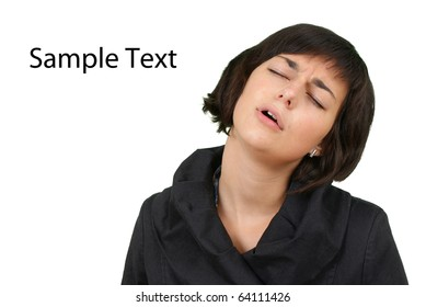 Stock image of tired woman over white background