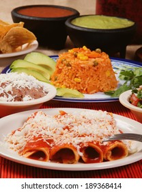Stock image of traditional mexican red enchilada dinner