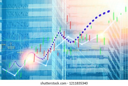 Stock index graph and chart in modern building background (blue bull chart)