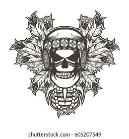 Stock  Indian skull chief badge black and white