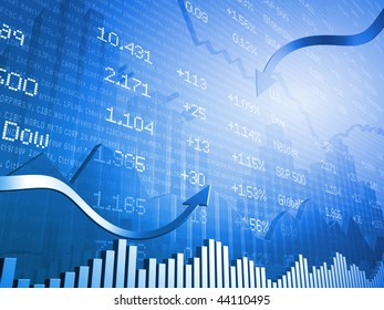 Stock Indicators with 3D Up Arrows and Down Arrows with Currencies
