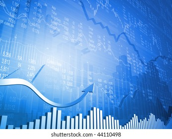 Stock Indicators with 3D Up Arrows with Market Quotes