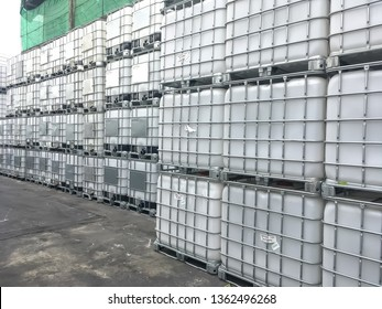 Stock of Intermediate Bulk Container for chemical in Factory.