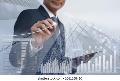 Stock market analysis, business intelligence, profits presentation, double exposure businessman analyzing financial graph, sector performance, financial background, cityscape, economic growth report