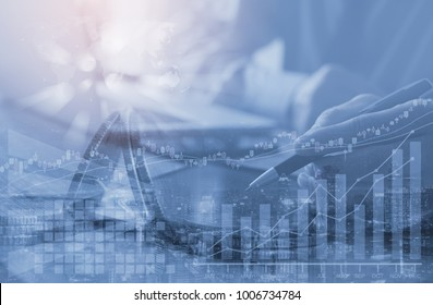 Stock market analyzing, Double exposure businessman and financial background with graphic financial data on virtual screen