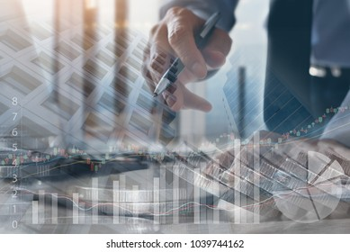 Stock market analyzing, financial investment concept. Double exposure businessman, bank office and buildings background with stock market data, forex financial graph on virtual screen