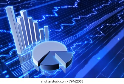 Stock Market Bar Graph and Pie Chart