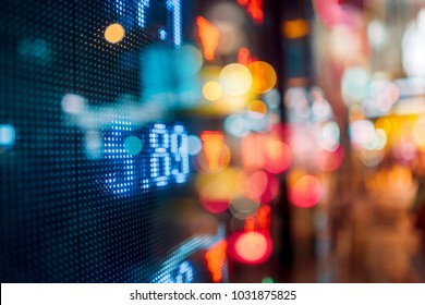 Stock market board at night