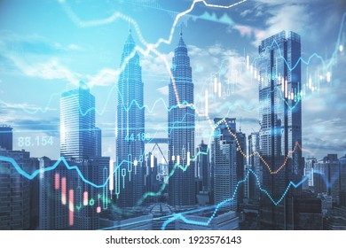 Stock market business concept with financial chart with diagram and graphs at megapolis city background. Double exposure