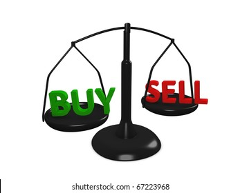 Stock market Buy and Sell concept image, isolated on white background.