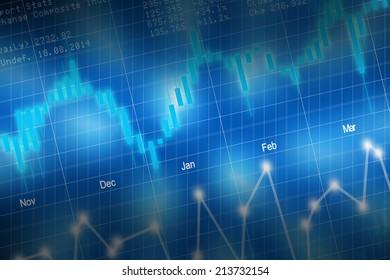 Stock market candlestick chart on blue background