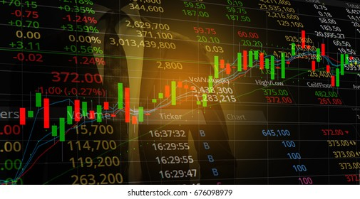 stock market candlestick graph combine with indicator with stock market chart mixed with business man background. stock market, business and finance concept